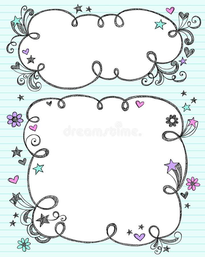 Frames esboçado Hand-Drawn da nuvem do Doodle