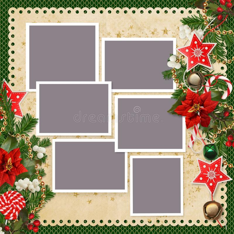 Christmas Background With Frames For Family Photos And Borders Of ...