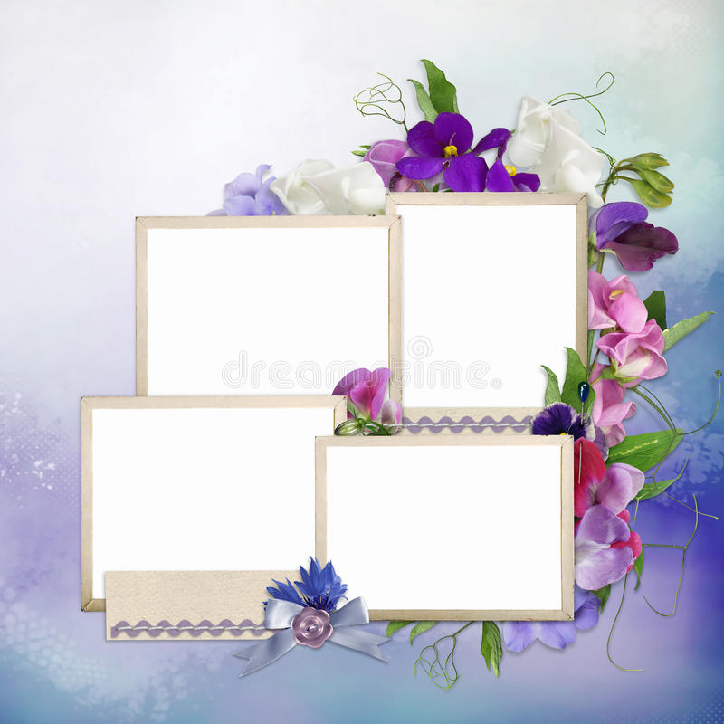 Frames for family and summer flowers on delicate background stock illustration