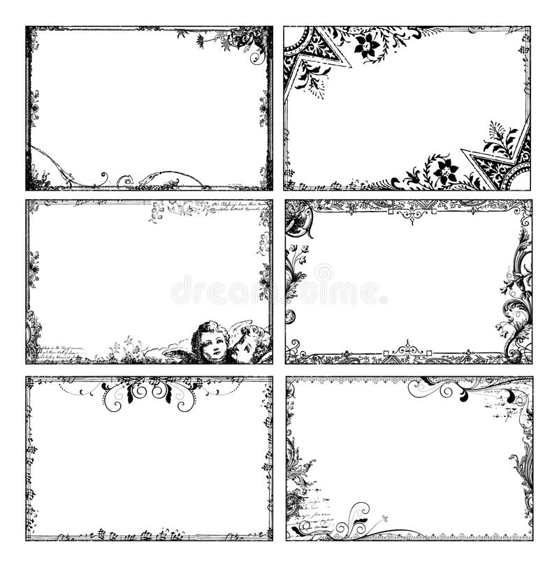 Frames florais boémios ilustração royalty free
