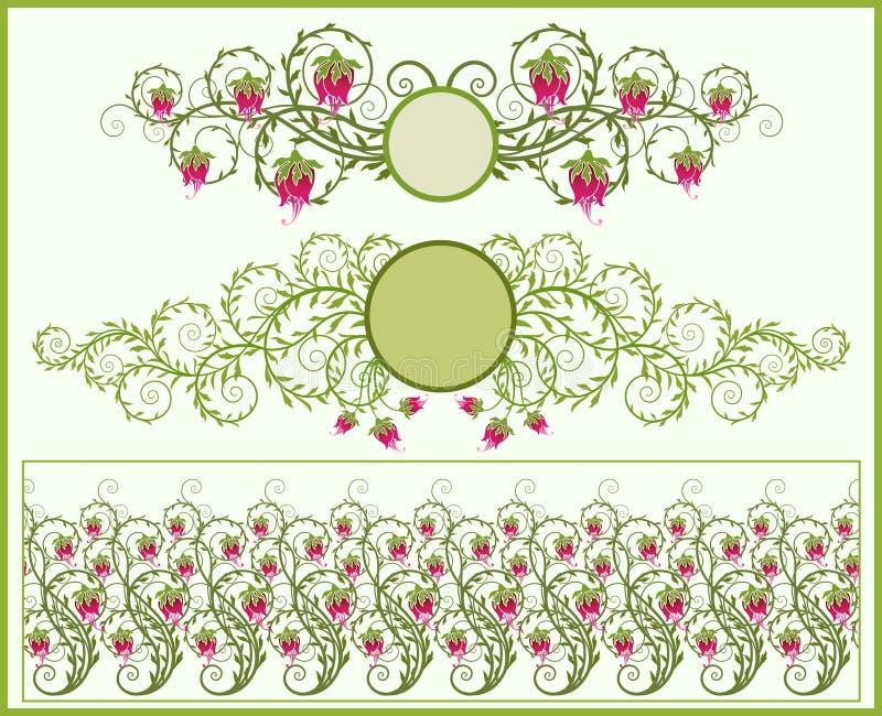 Frames florais e beira ilustração stock