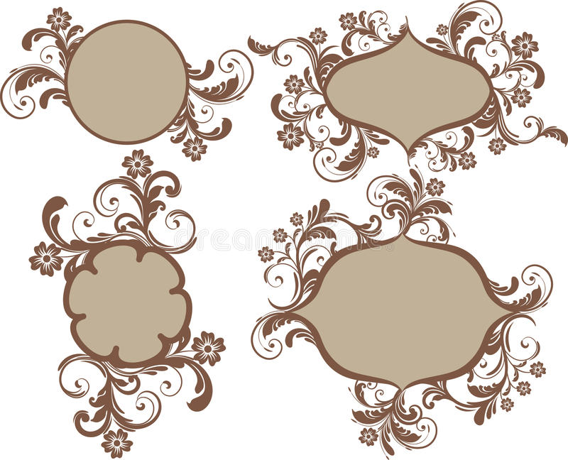 Download Frames with flowers stock vector. Image of floral, brown - 18548849