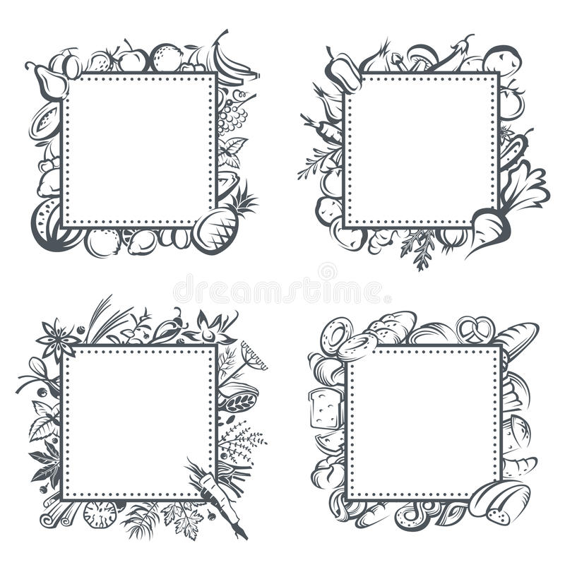 Frames with fruits, vegetables, bakery and spices vector illustration