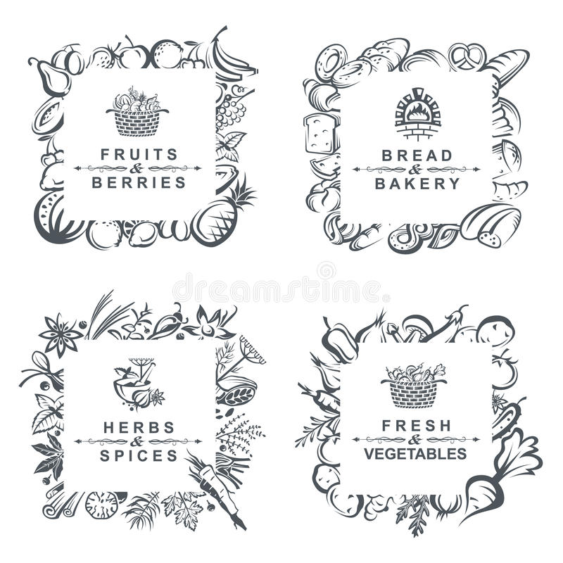Frames with fruits, vegetables, bakery and spices royalty free illustration