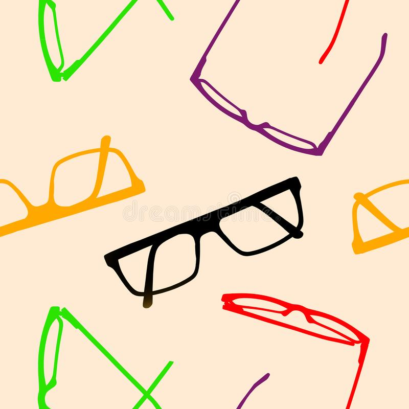 Seamless pattern. Multicolored glasses frames. royalty free illustration