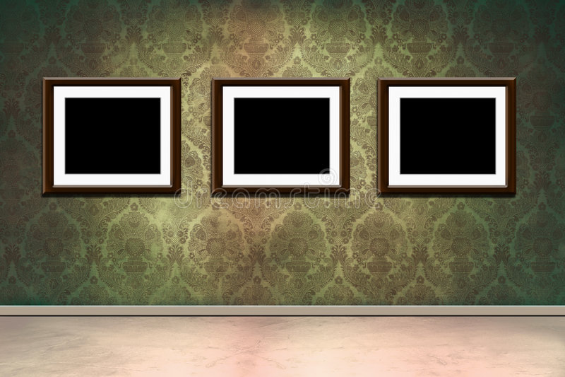 Frames in grungy room. Grungy old room with victorian wallpaper and empty frames vector illustration