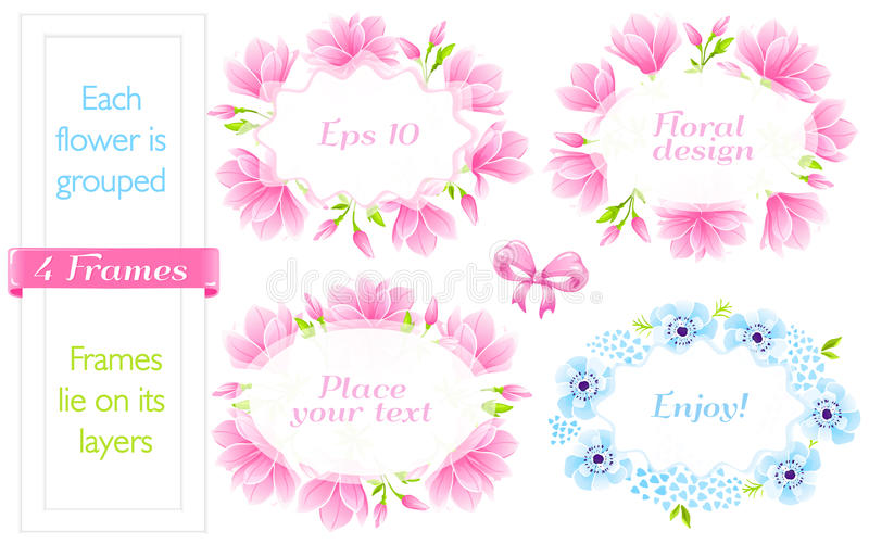4 Frames with Magnolia and blue Anemones. VECTOR eps 10. 4 Frames with pink Magnolia and blue Anemones. Japanese blossom vector illustration