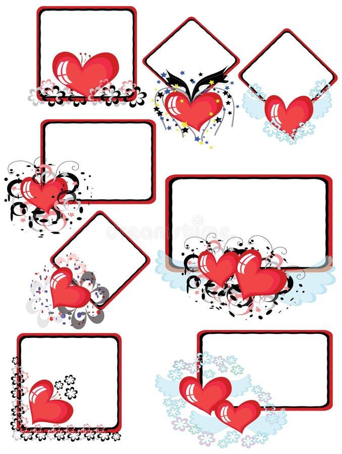 Frames met harten, CMYK stock illustratie