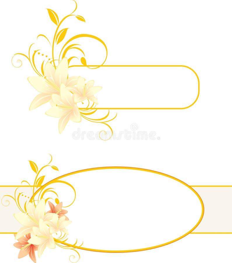 Frames met lelies en bloemenornament stock illustratie