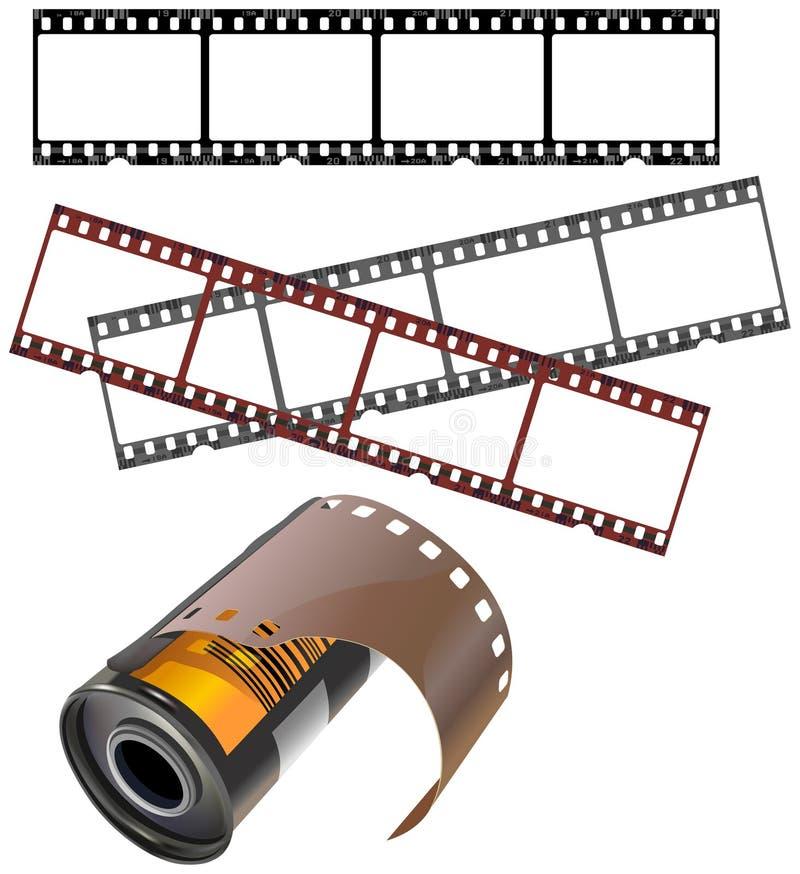 Frames negativos e vasilha isolada da película ilustração do vetor