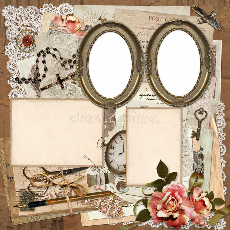 Frames, Old Documents, Money, Vintage Decorations On A Worn ...