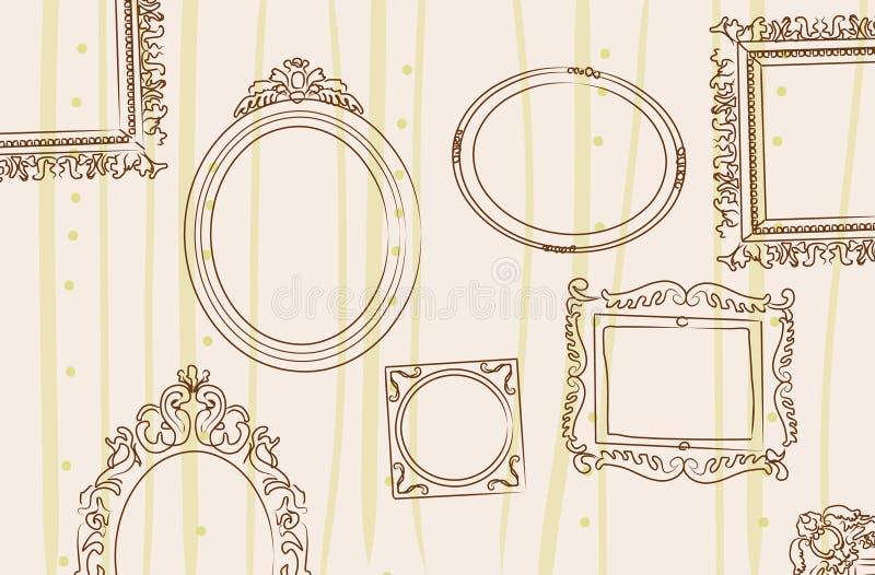 Frames op de muur stock illustratie