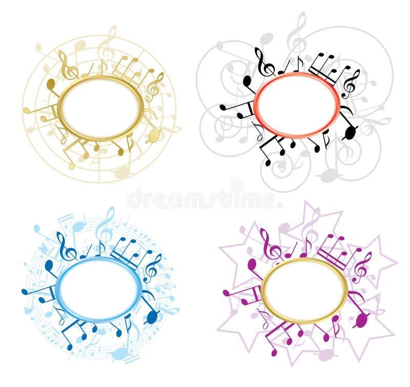 Frames ovais da música com notas - jogo ilustração do vetor