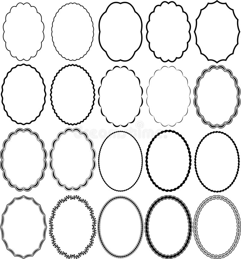 Frames oval. Silhouette frames and borders oval royalty free illustration