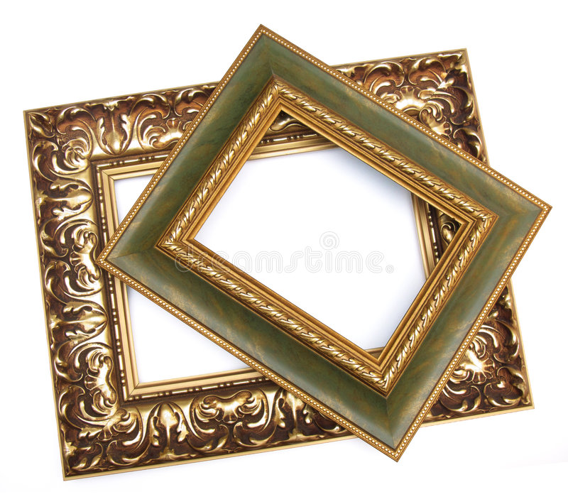 Frames for painting. Two frames for painting on a white background stock image