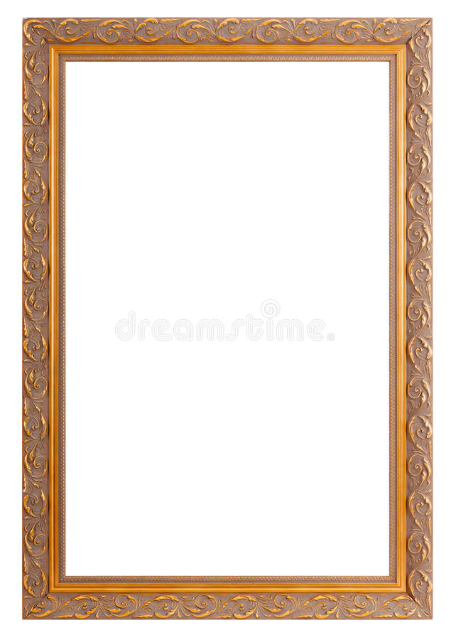 Frames for painting and picture. Golden frames for painting and picture over white background stock image