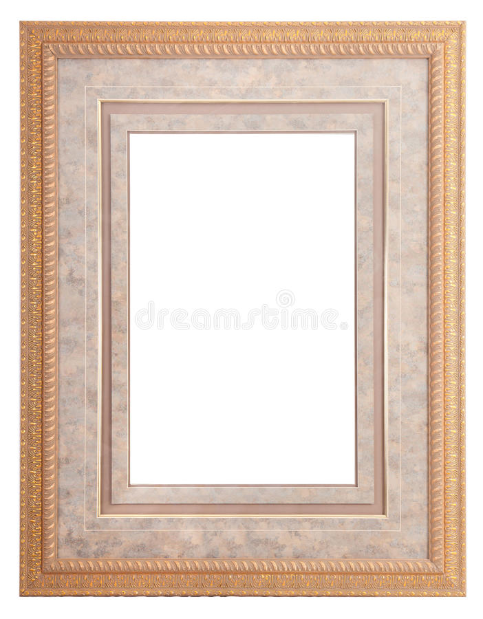 Frames for painting and picture. Golden blank frames for painting and picture over white background stock photography