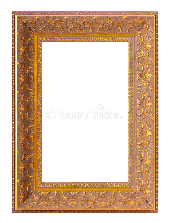 Frames for painting and picture. Golden blank frames for painting and picture over white background royalty free stock photos