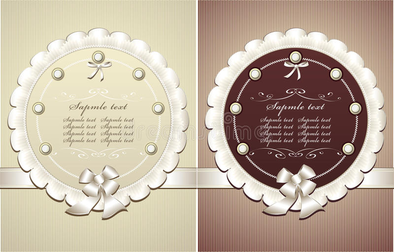 Frames with pearls bow in retro style royalty free illustration