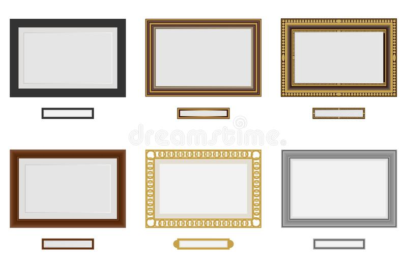 Frames for photo or picture. Vector wooden frame set. Picture frame vector on wall. royalty free illustration