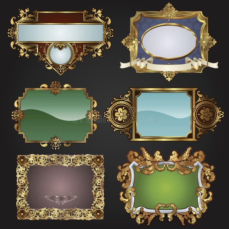 Frames retros e etiquetas do ouro do vintage ilustração stock
