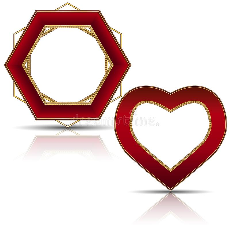 Frames ruby and gold color with shadow. Frames ruby color with shadow on white background stock illustration