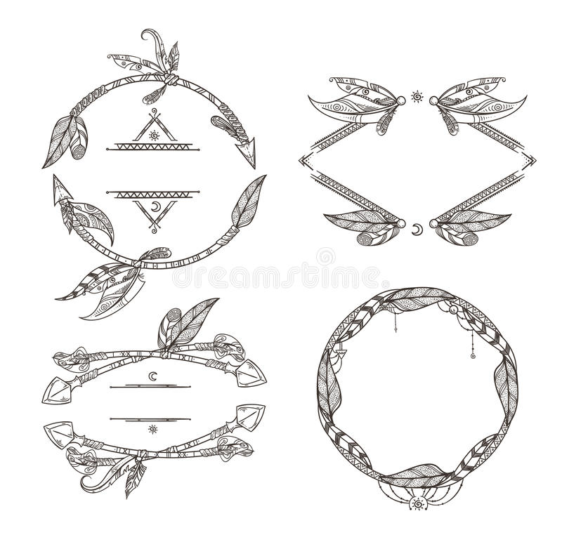 Frames set of feathers arrows and other decorative elements in boho style. Vector illustrations stock illustration