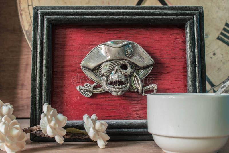 Frames skull on old wooden stock images