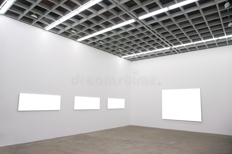 Frames on wall in hall stock image
