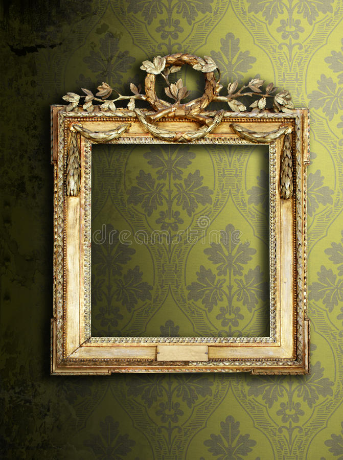 Frames & wallpaper. Gold ornate frames & retro wallpaper royalty free stock photography
