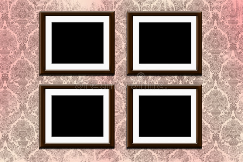 Frames on wallpaper. Wood frames on grungy old victorian wallpaper royalty free stock images