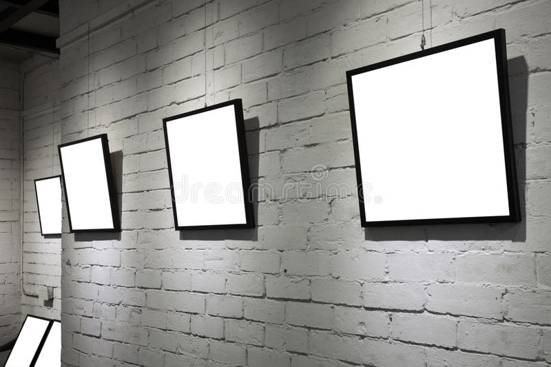 Download Frames On White Wall In Art Museum Stock Photo - Image: 28041084