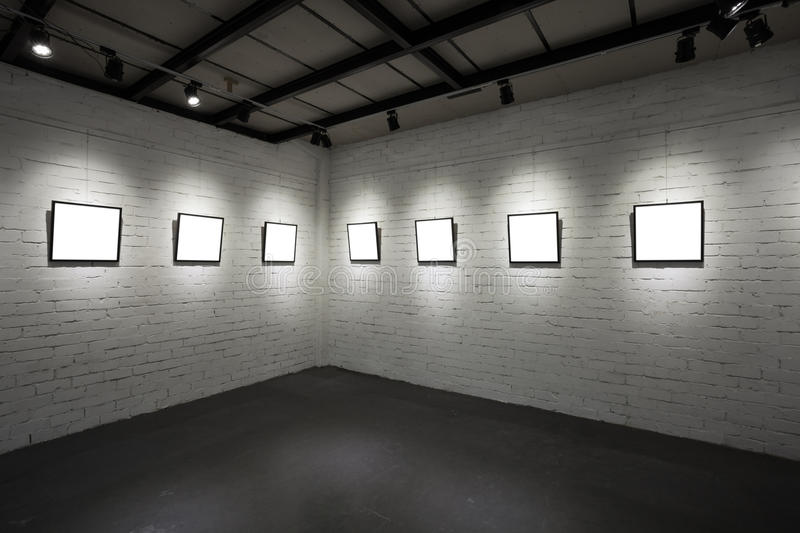 Download Frames On White Wall In Art Museum Stock Photography - Image: 28041262