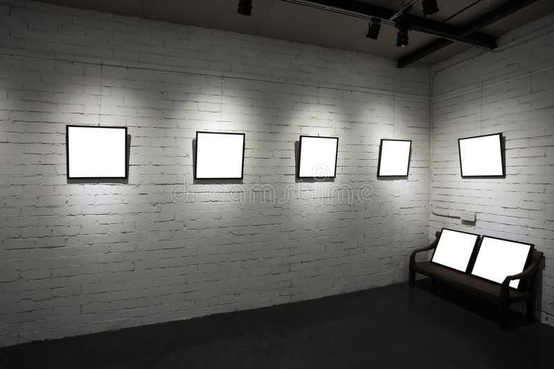 Download Frames On White Wall In Art Museum Stock Image - Image of creativity, backgrounds: 28041533
