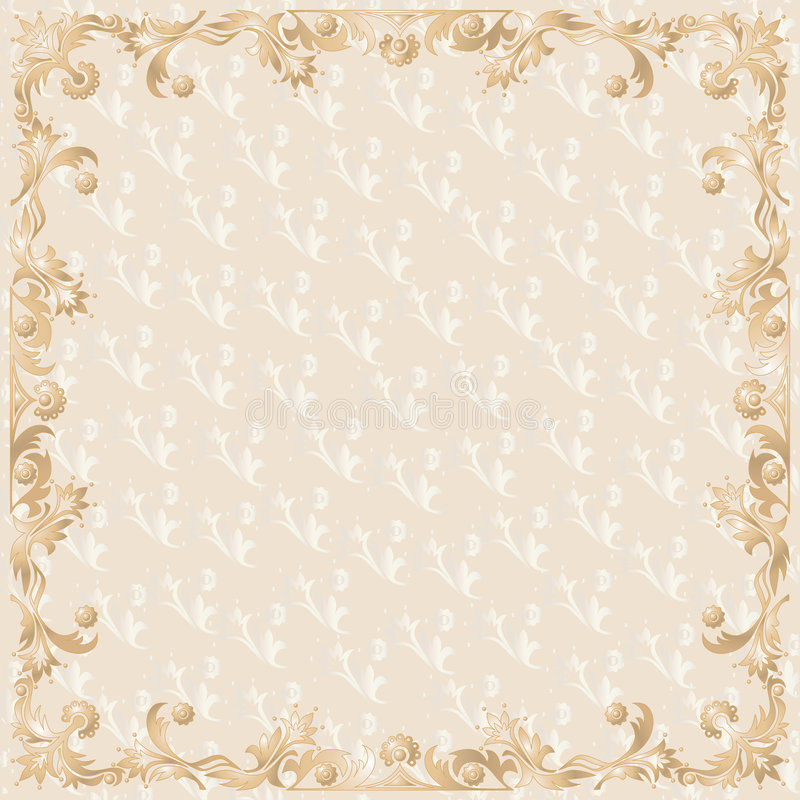Framework. For photo with drawn patterns in beige vector illustration