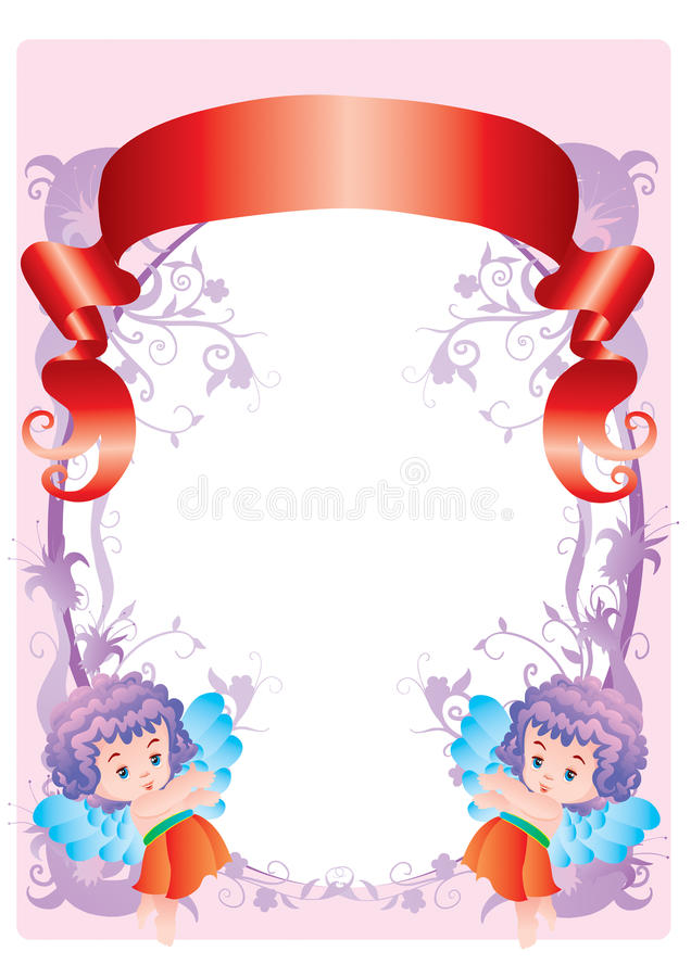 Framework with angels. Flower framework with two angels and a red tape vector illustration