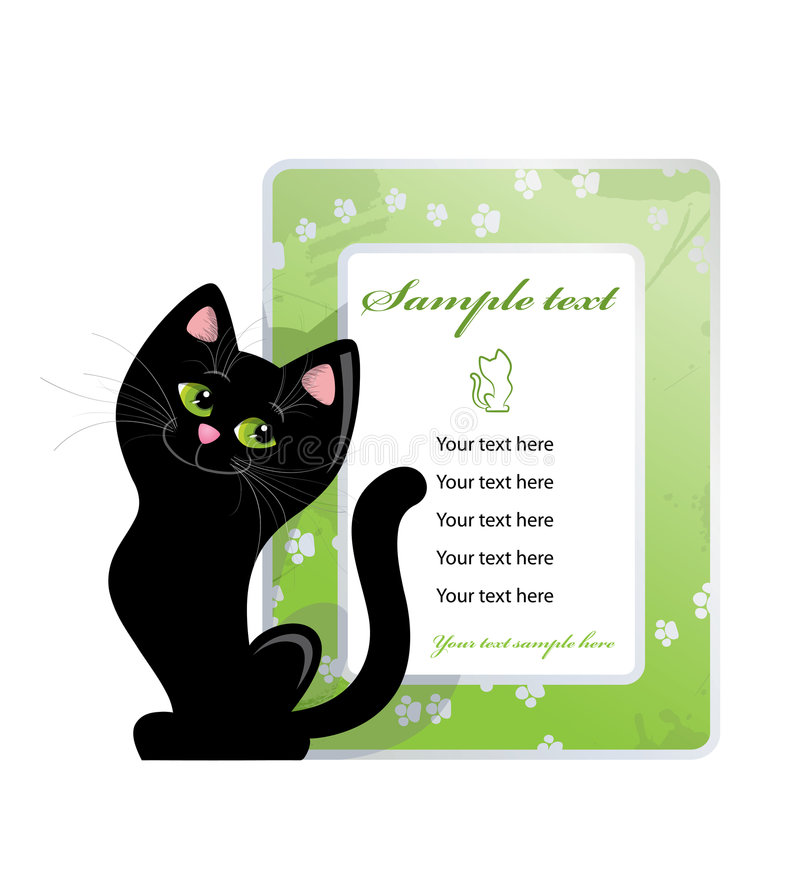 Framework and black cat vector illustration