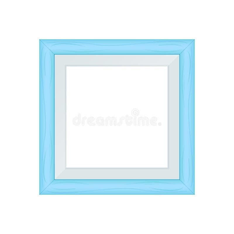 Framework blue pastel wooden blank for picture, image of square frames blue soft color square isolated on white background, blank. The framework blue pastel vector illustration