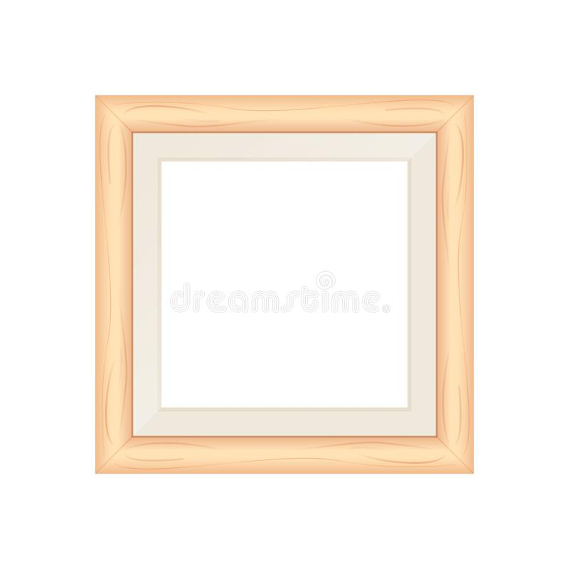 Framework brown pastel wooden blank for picture, image of square frames brown soft color square isolated on white background. The framework brown pastel wooden vector illustration