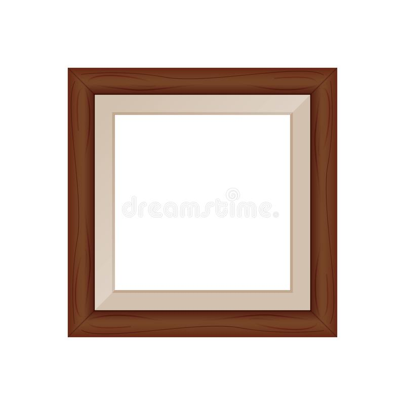 Framework brown wooden blank for picture, image of square frames brown color square isolated on white background, blank vintage. The framework brown wooden blank vector illustration