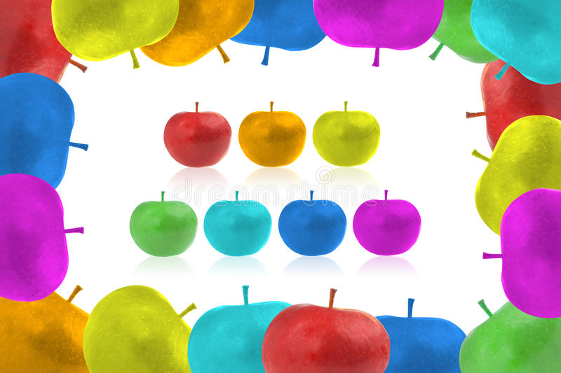 Framework from color apples. Seven color apples royalty free stock photos