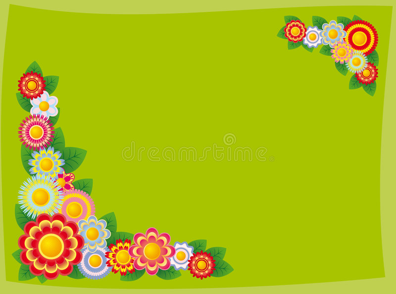 Framework from flowers. The figure representing a framework of multicolored flowers on a green background stock illustration