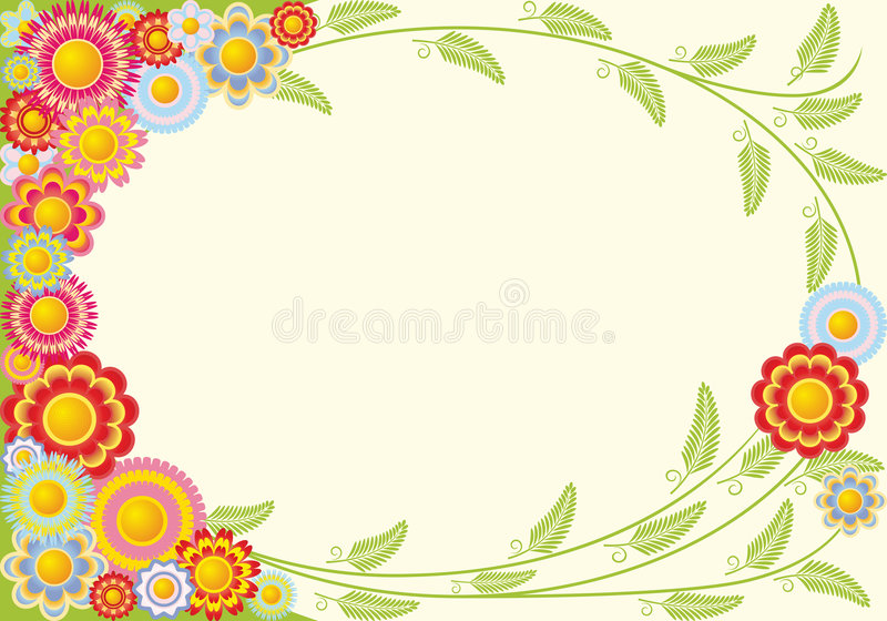 Framework from flowers. The figure representing a framework of multicolored flowers on a yellow background royalty free illustration