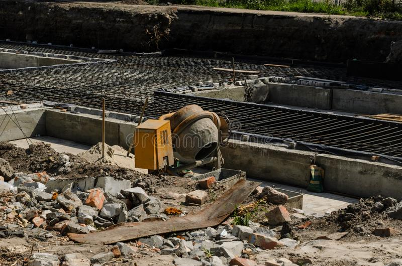 Framework for the foundation of the building. Framework for the concrete foundation of new building stock photography