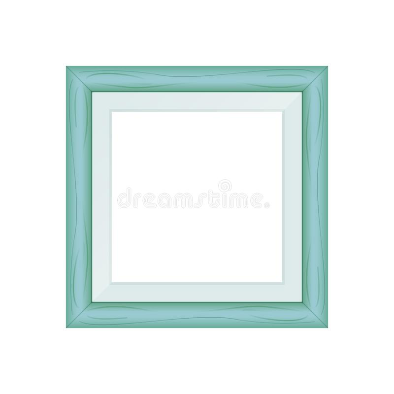 Framework green pastel wooden blank for picture, image of square frames green soft color square isolated on white background. The framework green pastel wooden royalty free illustration