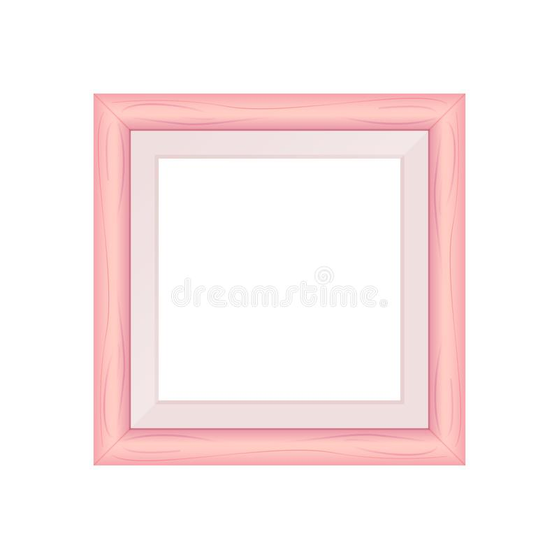 Framework pink pastel wooden blank for picture, image of square frames pink soft color square isolated on white background, blank. The framework pink pastel royalty free illustration