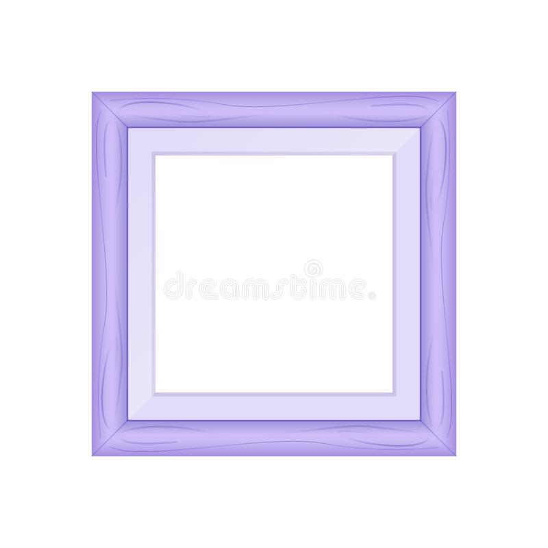 Framework purple pastel wooden blank for picture, image square frames purple soft color square isolated on white background blank. The framework purple pastel stock illustration