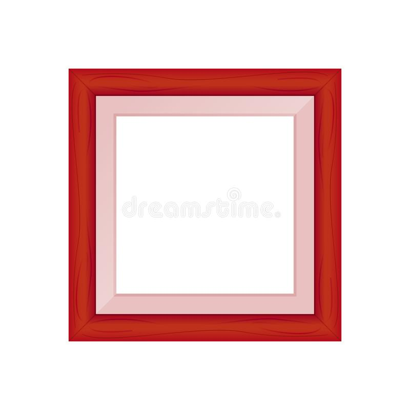 Framework red pastel wooden blank for picture, image of square frames red soft color square isolated on white background blank. The framework red pastel wooden stock illustration