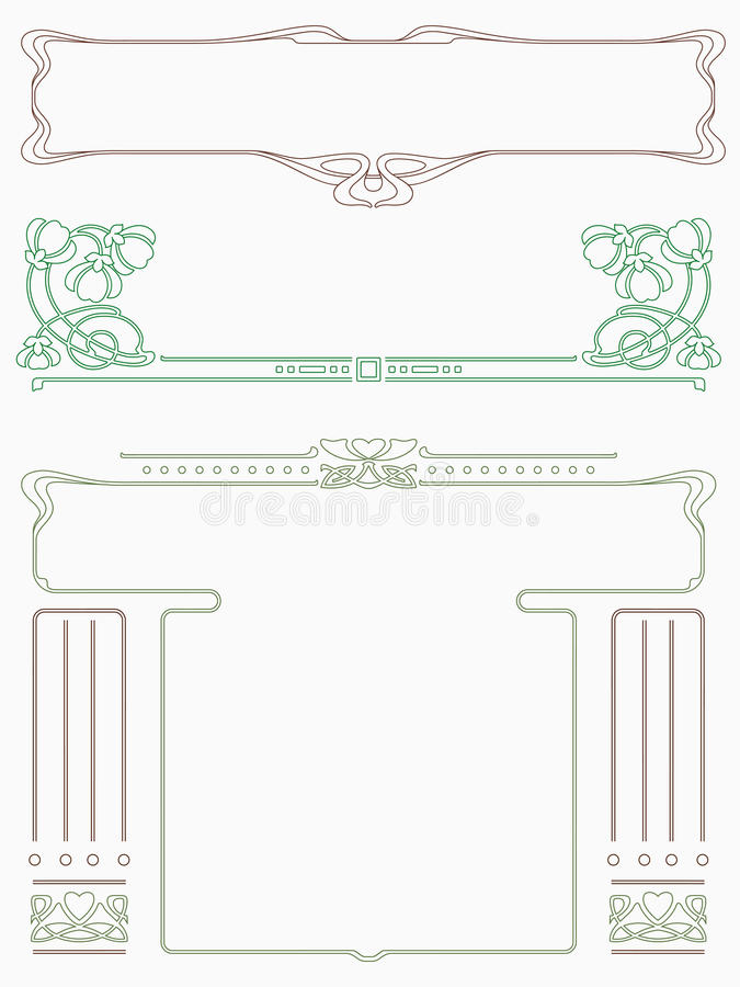 Framework in style art-nouveau. Abstract framework from the bound lines in style art-nouveau stock illustration