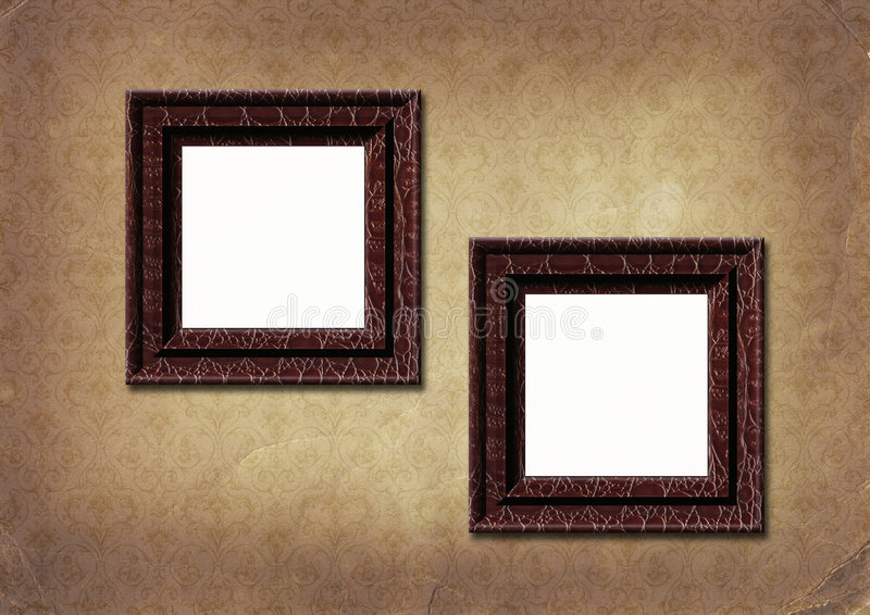 Frameworks on old paper victorian style. stock image